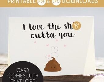 i love you card, love you funny card, printable love you card, sarcastic love you card, naughty love you card