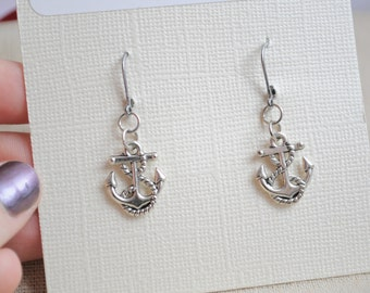 Elegant Silver Anchor earrings, Anchor and rope earrings, Silver Nautical earrings, Nautical jewelry, Anchor Charm earrings