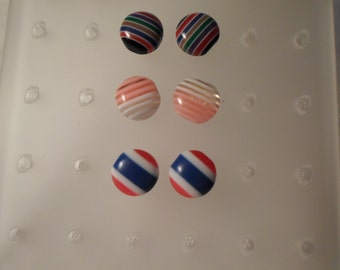 LUCITE EARRING COLLECTION / Pierced / Set of 3 Pair / Striped / Layered / Laminated / Retro / Modernist / One-of-a-Kind / Chic / Accessories