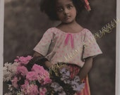 Instant Download Vintage Photograph - Shy Girl With Flowers