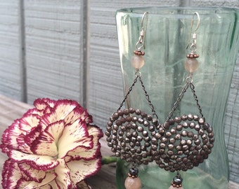 Victorian Steel Cut Button Earrings with Rose Quartz and Pyrite