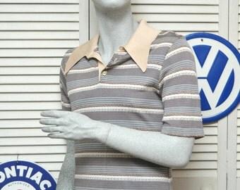 Vintage Men's Shirt/60's 70s Atomic Rockabilly Hipster Swag/Short Sleeve Knit Pullover/Tan Stripes/3 Button Front Medium Pierre La Grande