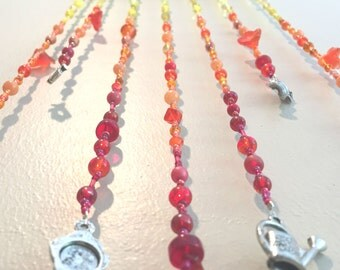 Ombre Beaded Hanging Mobile, Yellow Beaded Mobile, Orange Beaded Mobile, Red Beaded Mobile, Ombre Beaded Mobile, Garden Beaded Mobile