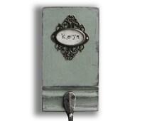 Rustic Key Holder, Hand painted Key Hook, Hanger for Keys, Shabby Chic Key Hook, Vintage Hook