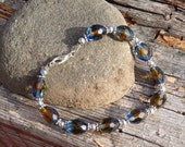 Blue Amber Bracelet Silver with Antique Glass Beads Handmade, Blue Bracelet, Handmade Jewelry, Christmas Gifts for Her, Bridesmaids Gift