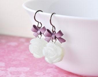 Jade Earrings, Flower Earrings, Mint Green, Bow Earrings, Pastel Goth, Hypoallergenic Surgical Steel, UK Earrings