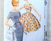 Vintage Pattern McCall's 5885 Wiggle Dress Retro 1960s Bust 36 bow sleeveless Audrey Hepburn Mad Men princess seams