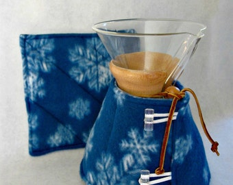 Snowflake Chemex Cozy and Warming Pad Set-Blue Fleece-6 cup size/wooden collar
