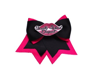 Beauty School Dropout Black and Pink Grosgrain Traditional Hair Bow Clip