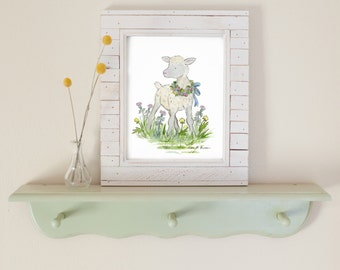 Children's Art, Farm Nursery Art, Lamb Nursery Print, Sheep Nursery Art, Kids Wall Art, Farm Nursery Decor, Baby Room Decor, Baby Lamb Art
