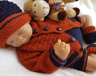 Baby Knitting Pattern Boys or Reborn Dolls - Sweater Set -  Instant Download PDF - Cardigan, Hat, Trousers & Booties - Easy Knit Design