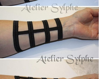 Armlet in black color short wristband fantasy boned and elastic strap