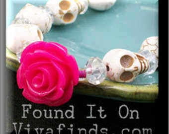 Day of the Dead Hot Pink Rose and White Sugar Skull Bracelet