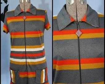 Groovy Vintage 1960s 1970s Striped Mini Summer Dress Knit Tunic Modern Size Small Medium