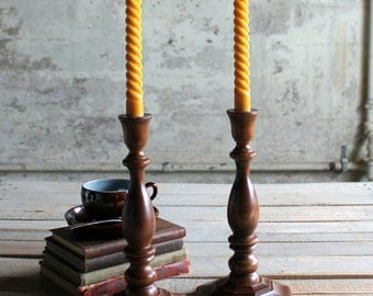 1 Pair of Vintage Wooden Candle Sticks