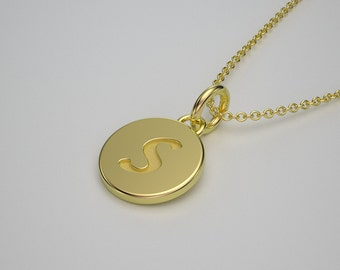 14k Gold Tiny Initial Charm Necklace - Personalized Jewelry. 14k, 18k Yellow, Rose, White Gold & Platinum. Made to Order in New York City