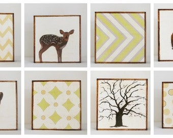 woodland nursery art- eight set of art blocks- kids room decor- neutral nursery deer chevron squirrel, woodland decor,  redtilestudio