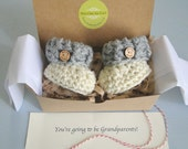Grandparent Pregnancy Announcement, BOOTIES IN A BOX® Ribbed Cuffs with Optional Wood Buttons, Newborn Baby Booties,  Custom Made Booties