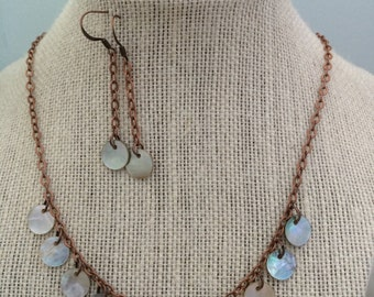 Capiz Shell and Antique Copper Necklace and Earrings