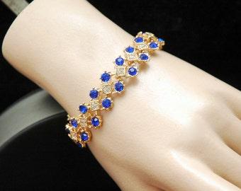 Blue Crystal Bracelet, Gold Bracelet, Royal Blue Bracelet, Art Deco Sapphire Bracelet, Gifts for Her, Rhinestone Cuff Bracelet