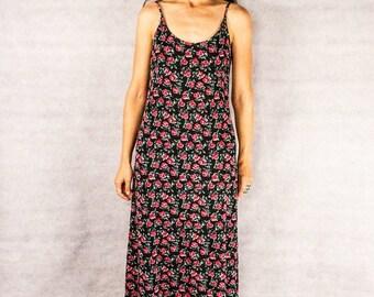 90s Black Rose Spagetti Strap Dress///Size M/L