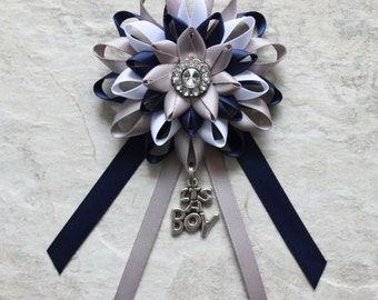 Baby Boy Shower Decorations, Navy Blue, Gray, White, It's a Boy Baby Shower Corsage, New Mom Gift, New Grandma Gift, Baby Shower Ribbon