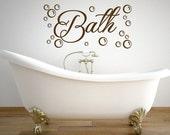 Bathroom decal - Bath with bubbles wall decal