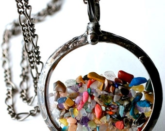 Floating Necklace with Multicolor Polished Stones Antique Pocket Watch Crystals Multicolored Shaker Necklace (2413)