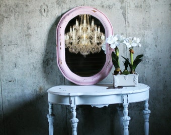 C h i p p y Pink French Oval Nursery Mirror Vanity