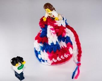 Coin Bag - Stars and Stripes - Money Dice Token Medicine Bag - Drawstring - Red White Blue Patriotic Multi Colour Color