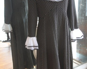 Vintage 1960s-1970s Polka Dot & Ruffles Flowing Maxi Dress
