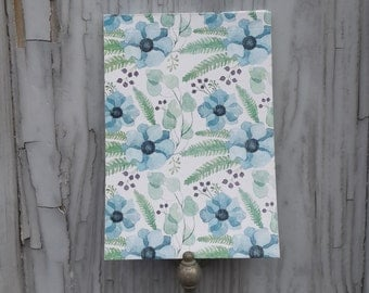 Blue Anemone Flowers Notepad  With Blank Pages