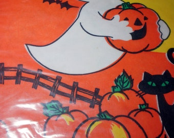 """Vintage 1970s HALLOWEEN Paper Tablecloth Friendly Ghost Black Cat Pumpkins Bats 53 3/4 X 88 """" Childrens Halloween Party Table Cover"""