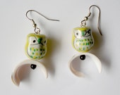 Ceramic Owl Earrings with Arched Shell Accent Beads