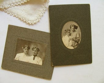 Vintage Photographs Two Women Sisters Friends Portrait Pictures Young Girls Daughter Antique Photo Cabinet Card Black White Photography Art