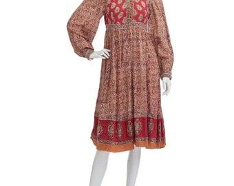 Vintage 70's Indian Cotton Gauze Ethnic PAISLEY Bib Puff Sleeves Empire Waist Hippie Boho Gypsy Festival Tiered Midi DRESS