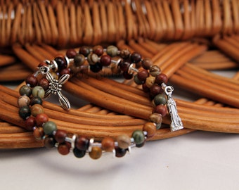 Our Lady of Lourdes Rosary Bracelet, Red Creek Jasper and Red Tiger Eye