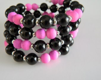 Wrap Bracelet Black and Hot Pink Glass Beads
