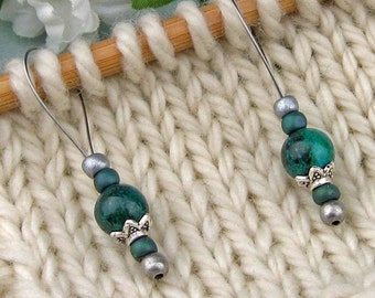 Stitch Markers, Knitting, Australian Jade, Semi Precious Stones, Snag Free, Jeweled Tool, Knitting Accessory, Supplies, Gift for Knitters