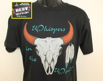Whispers in the wind vintage t-shirt L black 90s Native American Southwestern motif skull feathers