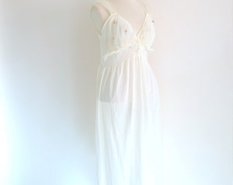 50s white slip - vintage cream honeydreamer floral lace flower applique mid century pinup nylon lingerie sheer full nightgown small medium