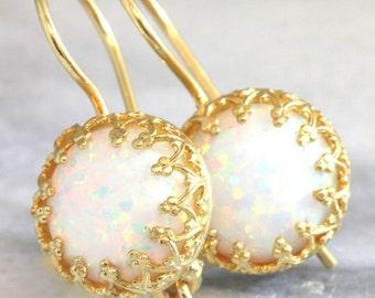 Opal Earrings,White Opal Earrings,Opal Drop Earrings,Opal Gold Earrings,Gift for her,Christmas Gift,Opal Jewelry,Opal Silver Earrings