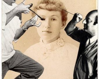Original Collage on Antique Cabinet Card - The Repair Job - Surreal Pop Surrealism Victorian Weird Plastic Surgery Doctor Surgeon Creepy Art