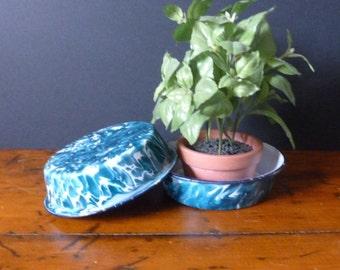Pair of Chrysolite Graniteware Pans