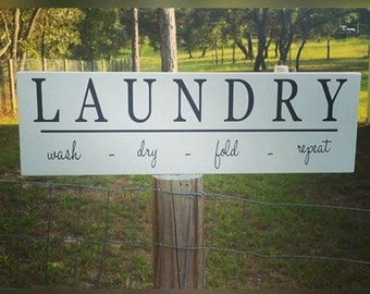 Laundry Sign - Wash-Dry-Fold-Repeat Wood Sign - Laundry Room Wooden Sign -  Laundry Decor - Housewarming Gift - Gifts for Her