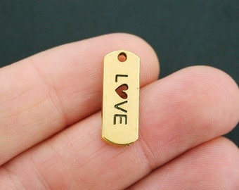 8 Love Charms Antique Gold Tone - GC648
