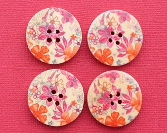 6 Large Wood Buttons Floral Abstract Design 30mm BUT89 -