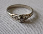 Vintage ring, size 6 ring,silver ring, vermeil ring, crystal ring, elegant jewelry