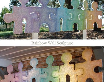 Rainbow Puzzle People Wall Sculpture
