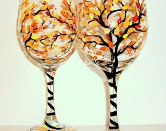 Fall Leaves Fall Trees Autumn Hand Painted Wine Glasses Set of 2 -20 oz. Thanksgiving Tableware Orange Yellow Brown Gift Fall Wedding Decor